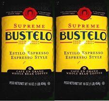 Lot of 2 16oz BUSTELO 2020 Supreme Espresso Premium Whole Bean Coffee WHOLE BEAN