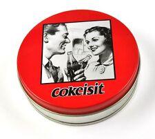 Coca-Cola Coke Blechdose Tin Box Blech Metall runde Dose Vintage Mann Frau Motiv