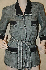 $8000 12P NEW CHANEL 9 CC buttons Tweed Black Green White SUIT JACKET w belt 40