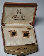 Antique NOS KREISLER 12k Yellow Gold GF Black Rectangle Cufflinks & Box  #EST91