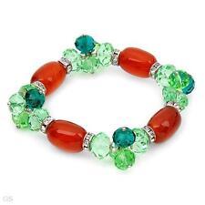 Beaded/Strand Crystal w/ Glass Muti-colored Bracelet 7in in Metallic base metal