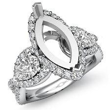3 Stone Diamond Wedding Pear Marquise Mount Halo Pave Ring 14k White Gold 1.4Ct