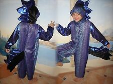 DRACHE DINO KOSTÜM HANDARBEIT USA 116-122-128 UNIKAT blau schwarz Drachenkostüm