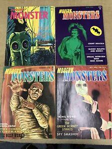 Modern Monsters Lot Of 4 # 1 2 3 4 Vintage Horror Like Famous 1966