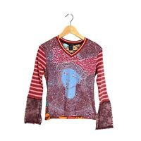 Custo Barcelona Rare Colorful T-Shirt Lace Sleeves Size Large