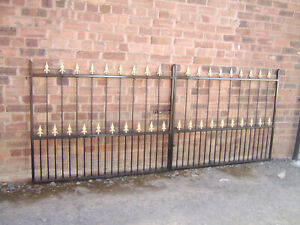 12 ft WIDE 4 ft TALL BIRGHAM DOUBLE DRIVEWAY WROUGHT IRON GATES INC POSTS