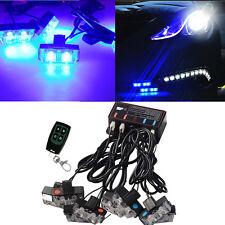 8 LED Blue Car Wireless Emergency Warning Light Strobe Lights Bars Dash Grill