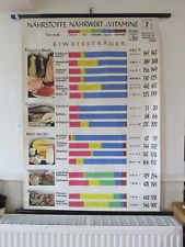 VINTAGE ROLL DOWN SCHOOL CHART VITAMINS FOOD GROUPS DAIRY PROTEIN NUTRITION CARB