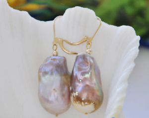 Huge 14-22MM lavender baroque keshi reborn pearl dangle earring