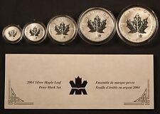 2004 Maple Leaf 5 Coin Privy Mark Set 99.99% Silver Reverse Proof w/COA. SHARP