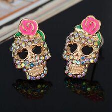Cute Rose Skull Ear Earrings Rhinestone Fashion Women Jewelry Studs Skeleton