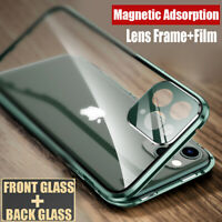 360° Magnetic Glass Case for iPhone 11 Pro XS Max XR X 8 7+Full Cover Lens Film