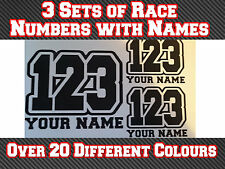 "3 Sets 6"" Race Numbers & Name Vinyl Sticker MX Motocross Track Bike Kart T3"