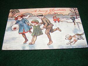 VINTAGE POSTCARD ART CHRISTMAS GREETING CHILDREN FROZEN POND SLIDING SKATE TUCK