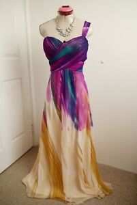 EVER PRETTY Cream Purple MAXI DRESS Size 14 Long Lined Pink Black Party Cocktail