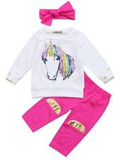 Bilo Infant Baby Girl Unicorn Cotton Long Sleeve T-Shirt, Pants with Headband