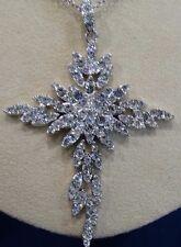 Leaf Cross Pendant Necklace Pjm Rhinestones Dangling Silvertone