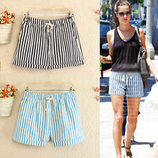 Striped Mid Rise Plus Size Shorts for Women
