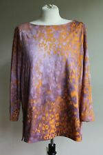 Escada Sport XL Orange Pink Animal Print 3/4 Sleeve Boat Neck Hi-Lo Hem Top