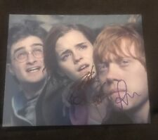 DANIEL RADCLIFFE RUPERT GRINT SIGNED 8X10 PHOTO HARRY POTTER WCOA+PROOF RARE WOW