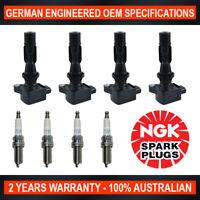 4x Genuine NGK Iridium Spark Plugs & 4x Ignition Coils for Mazda Mazda 3 BK BM
