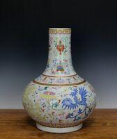 19th c. Chinese Qing Guangxu Famille Rose Phoenix Chestnut Form Porcelain Vase