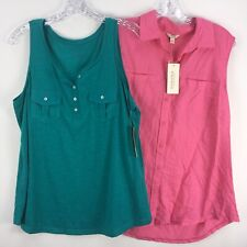 Sonoma Tank Top LOT of 2 Large Pink Green Misses Knit Woven Buttons NEW Shirt