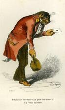 LE CHAT POSTIER gravure originale de Grandville aquarellee 1842