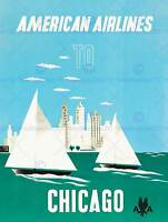 AMERICAN AIRLINES CHICAGO 1951 FINE ART PRINT POSTER HOME DECOR BB8056B