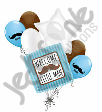 7 pc Welcome Little Man Mustache Balloon Bouquet Party Decoration Baby Boy Blue