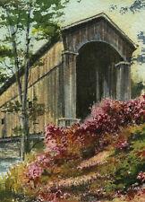 Shoreham Covered RR Bridge, Vermont. Gerald Hill watercolor portrait notecards