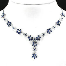 Sterling Silver 925 Genuine Natural Blue Sapphire Floral Necklace 17 Inch #2