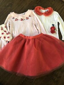 NWOT Janie and Jack girl 5-piece WINTER coral tulle skirt Bow Socks SET 7