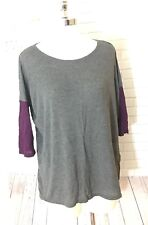 d38007f8d1f Tresics Gray Basic Top Blouse Purple 3 4 Sleeves Loose Fit Woman Size Medium