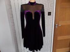 ASOS VELVET DRESS SHEER LONG SLEEVES HIGH NECK SIZE 12