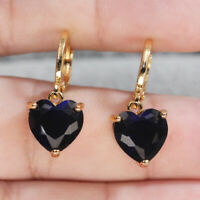 18K Gold Filled Earrings Women Royal blue Cameo Heart Dangle Zircon Fashion Gift