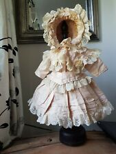 ANTIQUE DOLL BEAUTIFUL DRESS AND HAT...