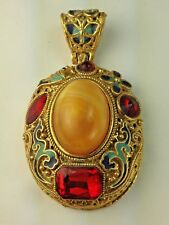 Vintage Large Pendant Necklace with Antique Gold Tone Filigree