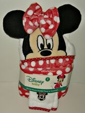 MINNIE MOUSE HOODED BABY BATH TOWEL AND APPLIQUED WASH CLOTH SET  NEW WITH TAG