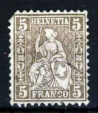 Svizzera 1862-67 seduto HELVETIA 5 C. Brown SG 54B VFU