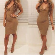 Boutique Camel Slinky Cowl Neck Cross Back Mini Bodycon Skirt Dress Celeb Party