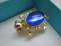 Vintage Gold Tone Sapphire Clear Ruby Glass Tortoise Terapin Animal Brooch Pin