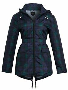 Womens Rain Mac Showerproof Raincoat Jacket Plus Sizes 18 20 22 24 Check Blue