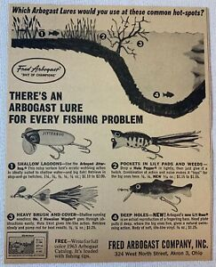 1963 fishing ad ~ THERE'S AN ARBOGAST LURE FOR EVERY FISHING PROBLEM