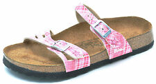 Birkenstock Birki's JULIETTE Pink Plaid Two Strap Slides Sandals Women's 5 - NEW