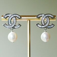 Amazing High Luster Baroque Freshwater Pearl Earrings with Sparking Crystal E359