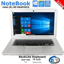 "14"" Slim Notebook Laptop Quad Core Windows 10 1.92Ghz Intel 32GB eMMC HD 2GB Ram"
