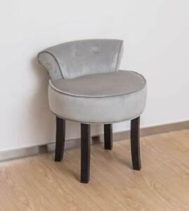 Grey Velvet Chair Dressing Table Vanity Stool Black Legs Bedroom Accent