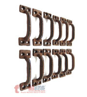 """12 Small Handles Drawer Pulls Door Cabinet Rustic Cast Iron Antique Style 3.5"""""""