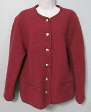 Vintage Women's Geiger Red Boiled Wool Jacket Blazer Cardigan EUC SZ 44